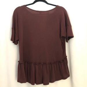 Maroon Top with a ruffle on the bottom